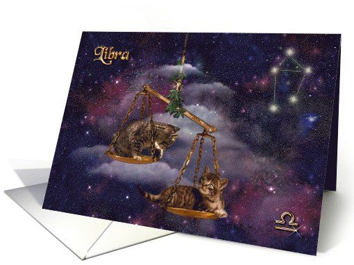 Libra birthday card for cat lovers