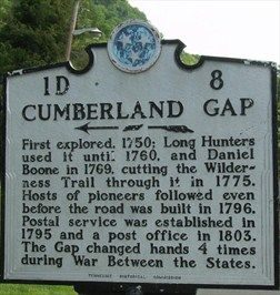 Historical Marker - Cumberland Gap, TN - Tennessee Historical Markers ...
