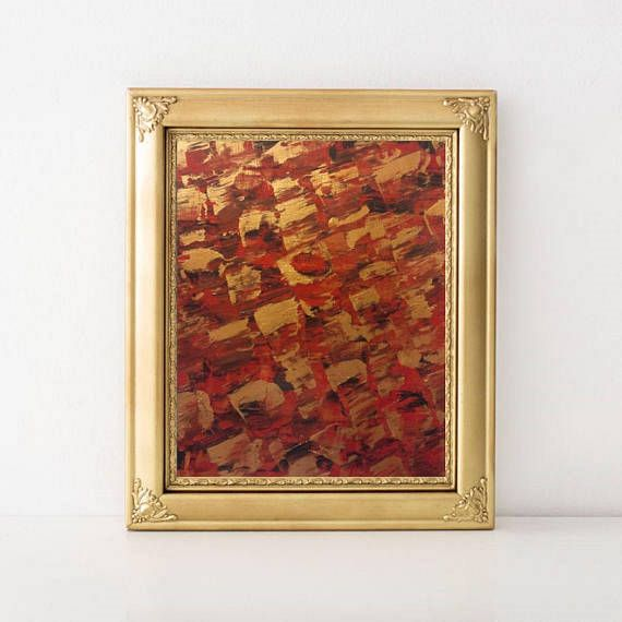 "Original Acrylic Abstract Painting on Canvas Paper - Brown Gold Red Palette-knife Contemporary Wall Art - Modern Living Room Art - 9"" x 13"""