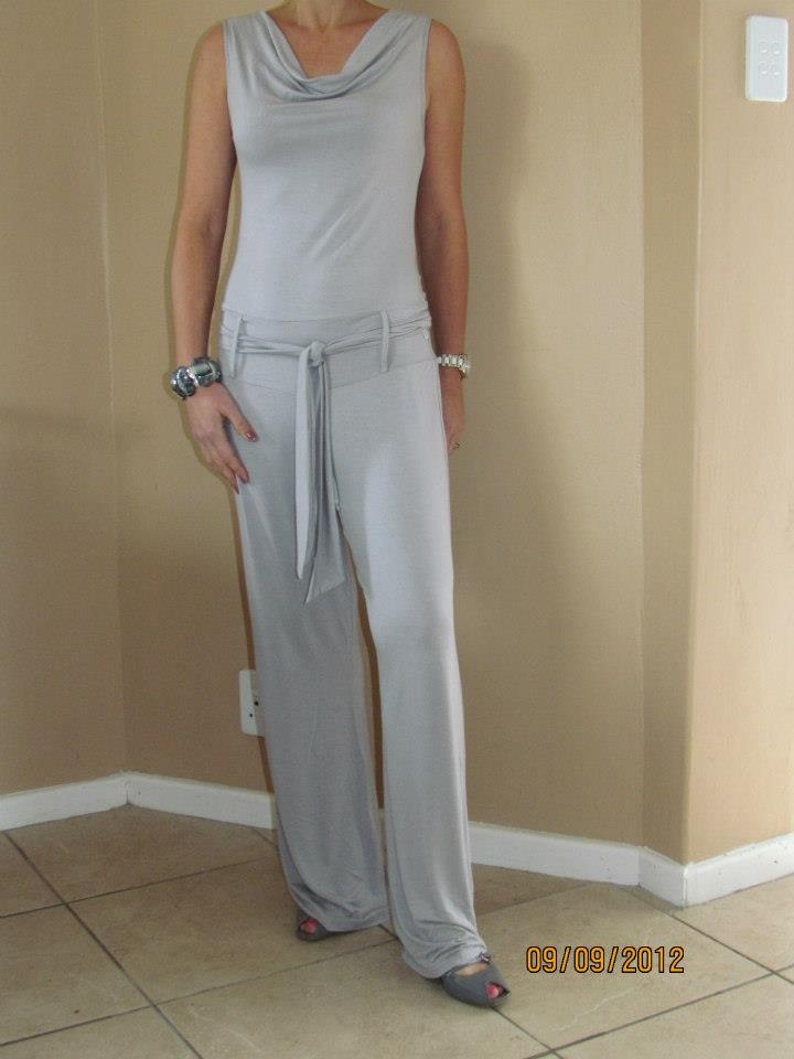 Cowl neck jumpsuit. This fabric falls so well. Love it.
