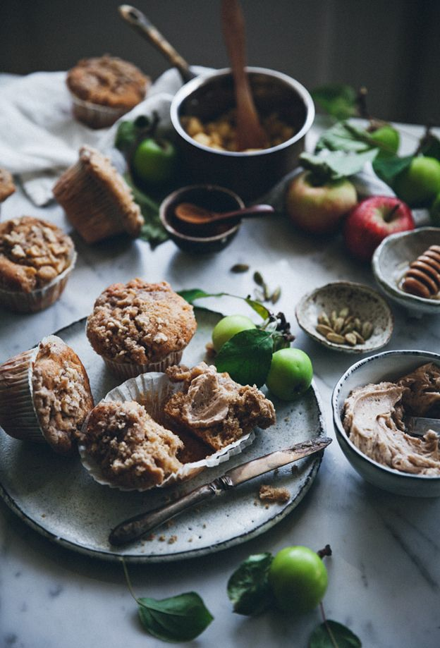 SPICED APPLE MUFFINS WITH STREUSEL TOPPING AND CINNAMON HONEY BUTTER