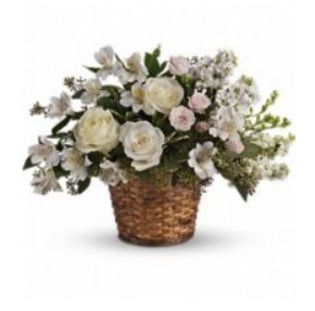 Your message of caring will be as clear as day when you send this pure white and pretty basket to the bereaved. A variety of beautiful white flowers such as roses, spray roses, alstroemeria, larkspur . For more details visit.. http://www.dreamflowershouston.com/product/love-s-journey-249