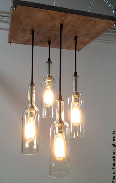 Recycle empty wine bottles and turn them into unique hanging light fixtures