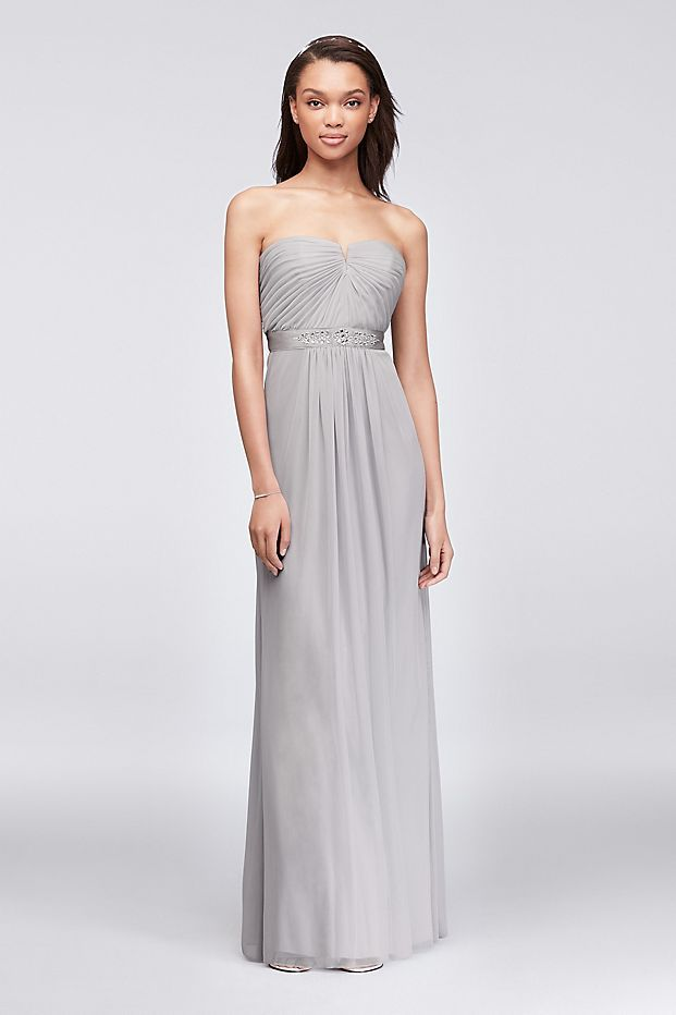 Featuring a prettily pleated bodice that dips into a notched sweetheart neckline, this light and airy long mesh bridesmaid dress is finished with a crystal-embellished grosgrain ribbon waistband.&nbsp