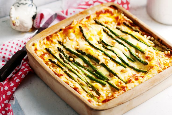 Chicken and asparagus lasagne.