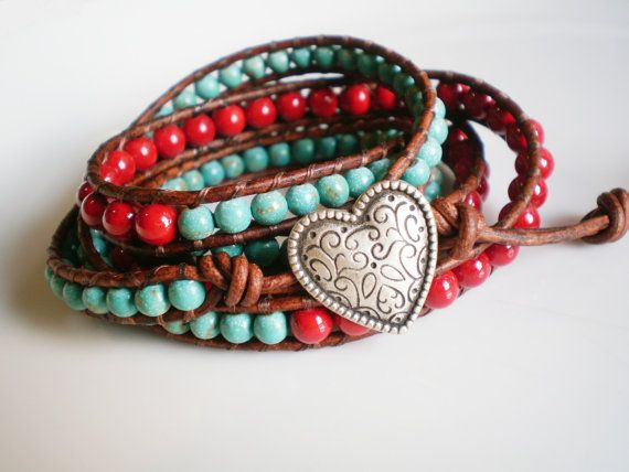 Adorable red and turquoise affair -- Sweet swirly heart-shaped button -- $68 (use coupon code PIN10 for 10% off of your total purchase!)  Available now . . .
