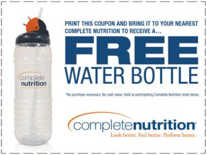 Get free water bottles @ complete nutrition !