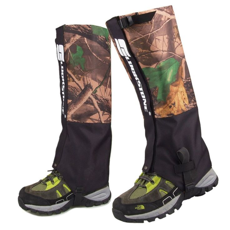eForCrazy Outdoor Men's Waterproof Breathable Unisex Double Sealed Crocodile Gaiter Hiking Mountain Leg Protection Bug out camouflage Gaiters * Find out more details by clicking the item shown here : Backpacking gear