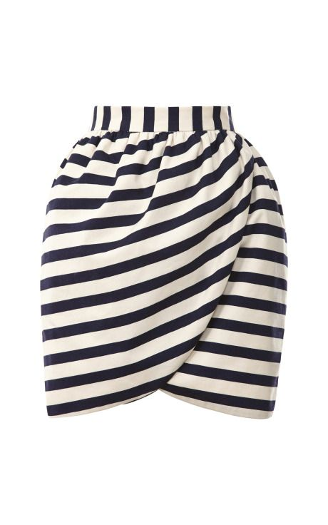 Shop Striped Mini Wrap Skirt by Harvey Faircloth Now Available on Moda Operandi