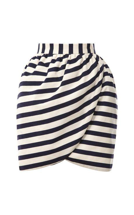 Shop Striped Mini Wrap Skirt by Harvey Faircloth Now Available on Moda Operandi