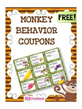 Whether you're doing the monkey theme or not, these free behavior coupons will be sure to motivate your students!This freebie is apart of my MONKEY-THEMED CLASSROOM MATERIALS PACK that contains LOADS of resources! :P Customizable image templates are also included in this pack!