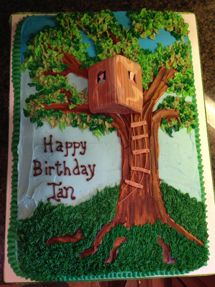 Magic Tree House - Finished product. Inspired by pavigiri cake on cake central. All edible, all buttercream except stairs and 3-d tree house (fondant). Large 19x12 sheet cake.