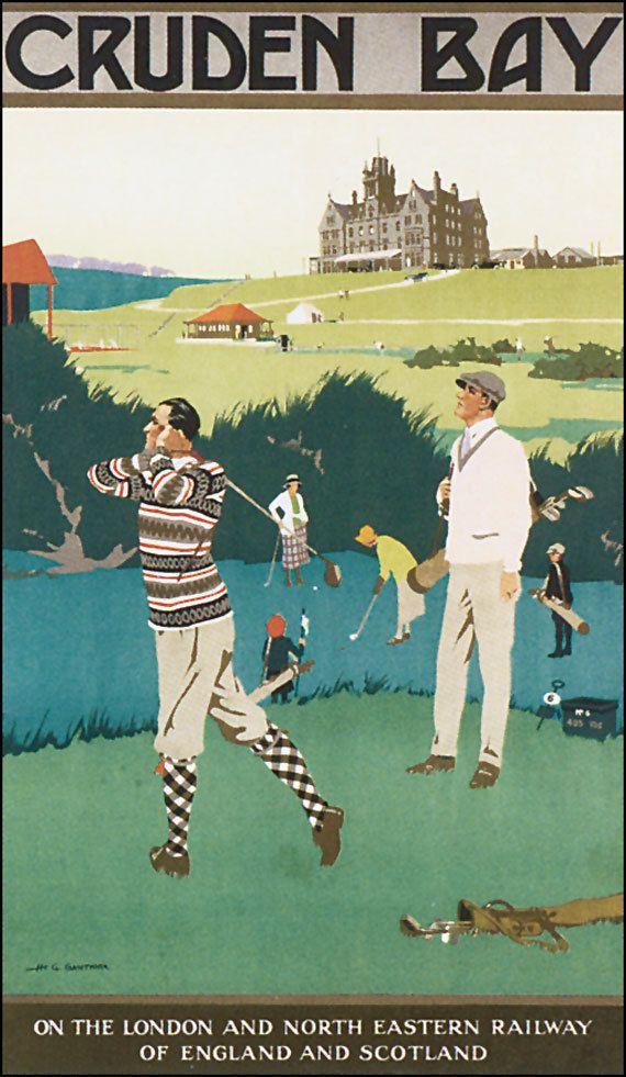 Vintage Retro Poster Art RAILWAY Cruden Bay Golf