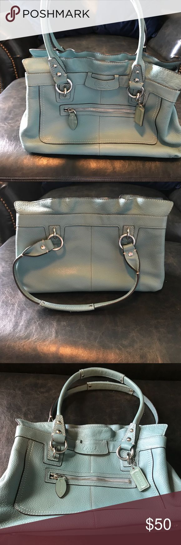 Coach teal pebbled leather tote. Gently used teal tote with supple, pebbled leather and a dark chocolate lining. Factory. Coach Bags Totes