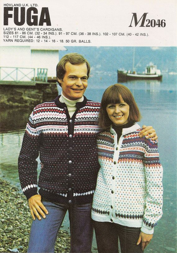 This is a PDF download of an original 1980s knitting Pattern.    Fuga Ladys and Gents Fairisle Cardigans.