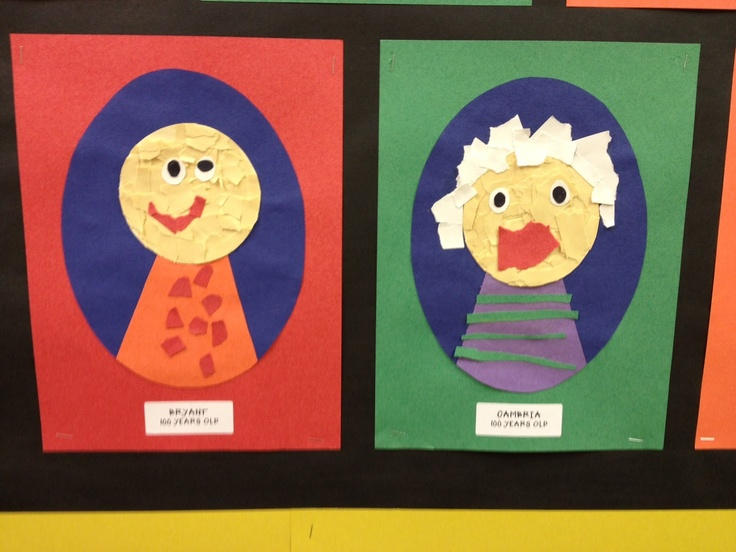 Some really cute 100 yr. old people! A great activity for the 100th day of school!