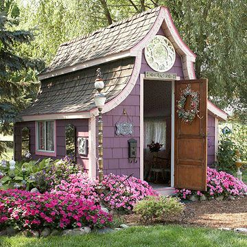 Purple garden shed! - now that's heavenly!  Love the roof line!