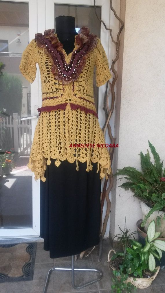 Sabby chic Tunic-Blouse/Hand crocheted Boho by AnnesMagicCrochet
