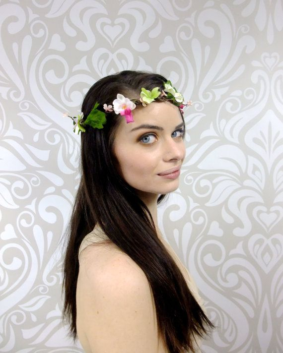 White and Pink Bridal Crown Orchid Flower Crown by RuthNoreDesigns