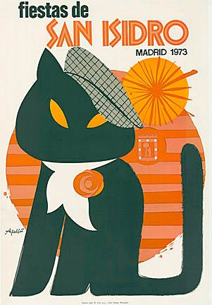 Fiestas de San Isidro * Madrid (1973). Original Fiestas de San Isidro Madrid poster. Linen backed. This black cat with a French style beret is in the foreground; an orange stylized sun in the back.