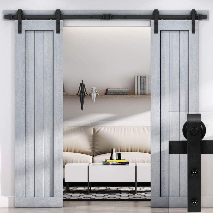 Easelife 66 ft double sliding barn door hardware kit