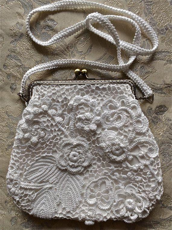 Wedding bag White Irish Crochet Handmade finished by LuckyMila