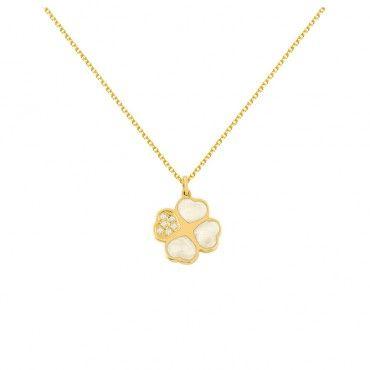 Ένα χαριτωμένο κολιέ τετράφυλλο τριφύλλι από χρυσό Κ14 με mother-of-pearl και brilliant σε κίτρινο γυαλιστερό φινίρισμα | Κολιέ ΤΣΑΛΔΑΡΗΣ στο Χαλάνδρι #τριφύλλι #διαμάντια #mother-of-pearl #χρυσό #κολιέ