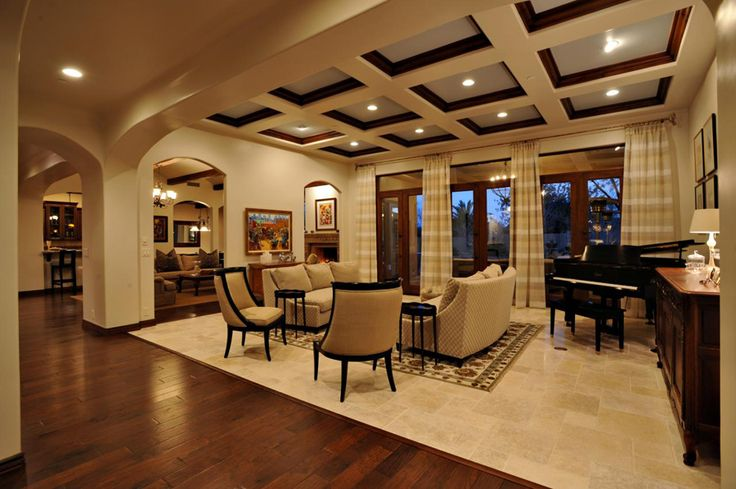 Love that ceiling!!!!!! white coffered wood ceiling panels for living room