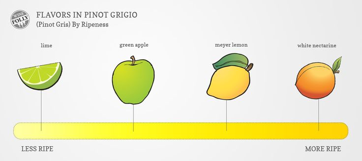 """[infographic] """"Flavors in Pinot Grigio"""" Sep-2013 by Winefolly.com"""