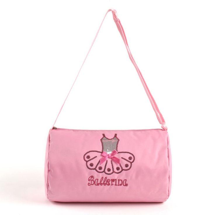 Girl's Cute Ballet Dance Bag Waterproof Canvas Paillette Decor Pink Ballet Bags For Children Crossbody Ballet Kids Dancing Bags