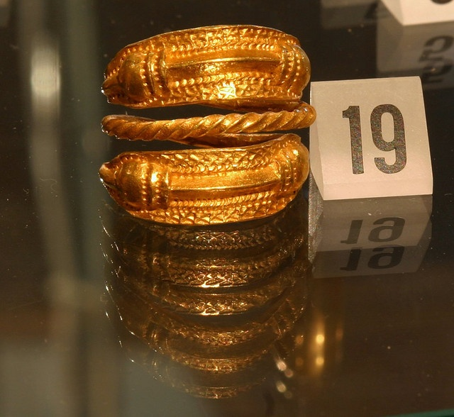 Gold ring from the viking age, found in Naustdal, Western Norway. Exhibited in Bergen museum.