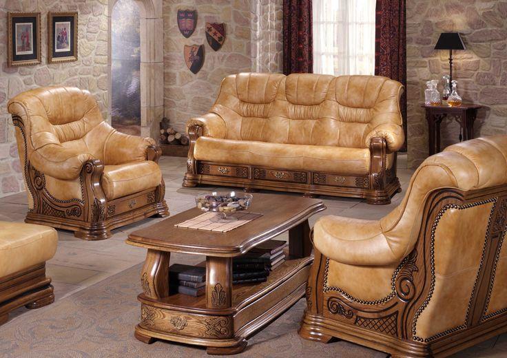 Exkluzívna Belgická rustikálna sedacia súprava Munchen  Výrobca: Belgicko  Kostra: Dub  Rozmery:           Šírka Výška Hĺbka   3-miestny sedák 196 100 100