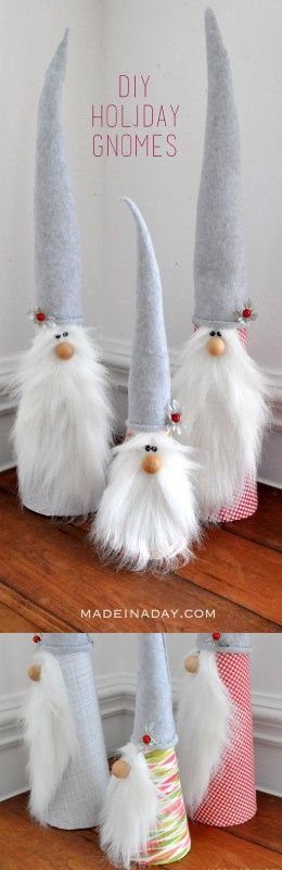 DIY Holiday Gnomes Easy Tutorial on madeinaday.com