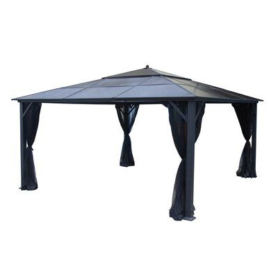 allen + roth 14-ft x 14-ft Square Hardtop Gazebo  14-ft x 14-ft Square Hardtop Gazebo (Actual Size: 179.1-in x 179.1-in)	Black, powder-coated, rust-free