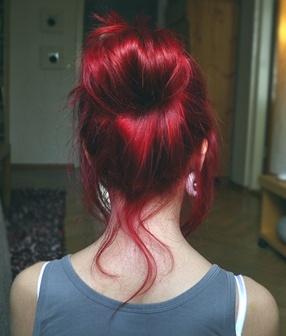 #Rubyred hair in a #highbun #brightred #redhair