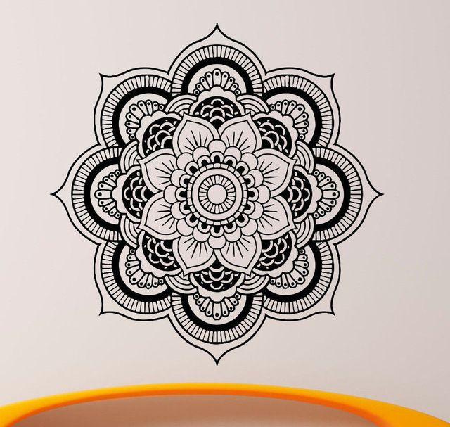 Calidad Tatuajes de Pared Mandala Ornamento de Yoga Indio Buda OM Symnol Decal Vinilo pegatinas Flor de Loto Decoración Del Hogar Murales CW-2