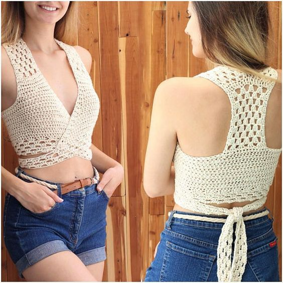 "Easy Crochet Top, Patron crochet, Gioia crochet halter top, Beginner top pattern, Crochet top pattern, Bust sizes 30"" to 44"", Sizes S-M-L-XL"