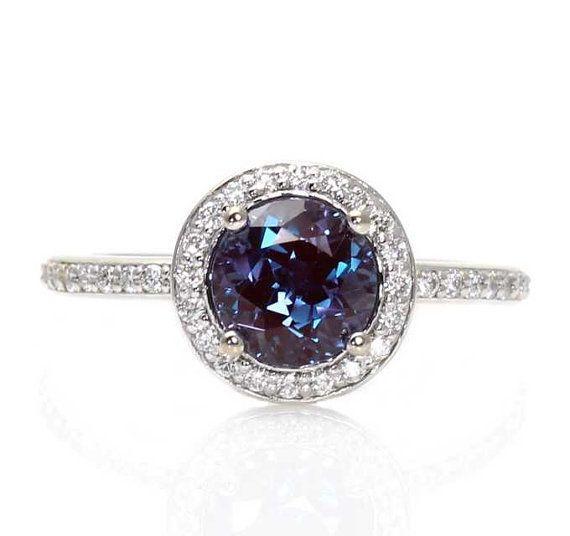 June: Platinum Alexandrite Ring Diamond Halo Setting