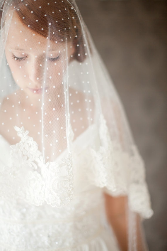 Polka Dot Wedding Veil, Lace Blusher Bridal Veil, Handmade Dotted Wedding Veil, Floor Length, Long Ivory Lace Veil – Allure