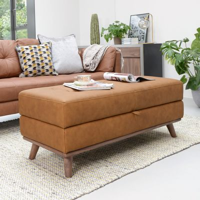 Click to zoom - Marseille leather storage footstool tan