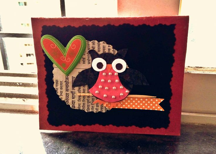 Mini card #7 : Card with owl sitting on the toothpick... Its cuteeee....