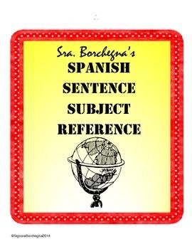 Random Subjects for Creating Spanish Sentences - Use for class/quizzes/tests/warm-ups/HW $TpT