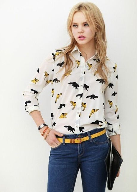 European Style Autumn Animals Pattern Long Sleeve Blouse | Rosewe.com