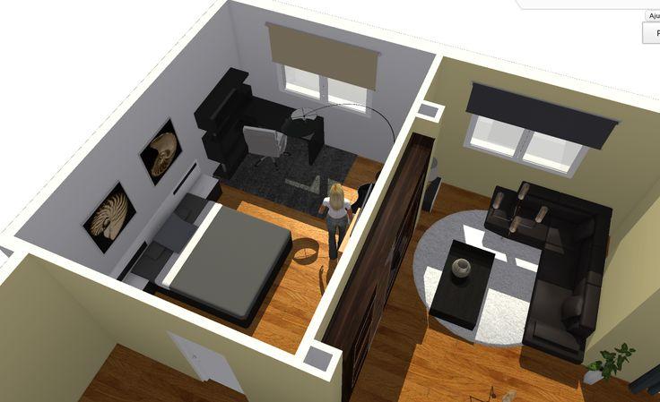 Vista de detalle de dormitorio de entrada y salón.