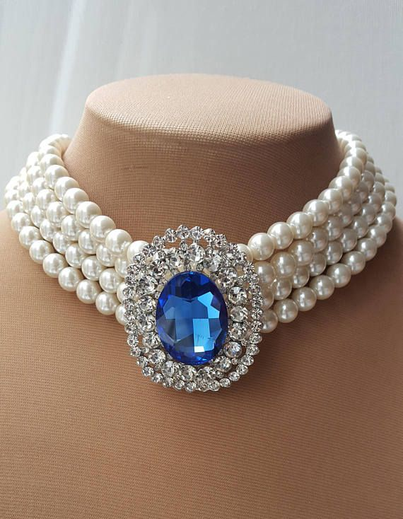Check out this item in my Etsy shop https://www.etsy.com/ca/listing/573666909/sapphire-brooch-pearl-chokerpearl-choker