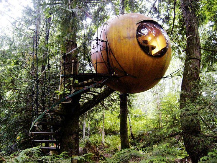Free Spirit Sphere, un hotel árbol en los bosques de Vancouver - https://arquitecturaideal.com/free-spirit-sphere-hotel-arbol-vancouver/