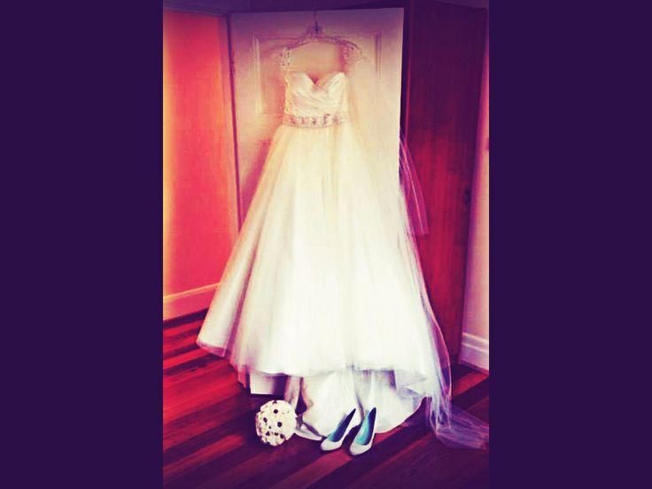 Stella York dress, Christian Louboutin Shoes, David Austin roses! Bliss!