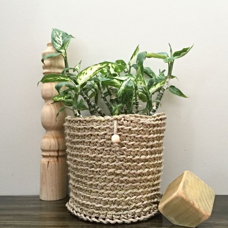 Jute and Silver Metallic Thread Pot Plant Pouch by DollmaDesign on Etsy