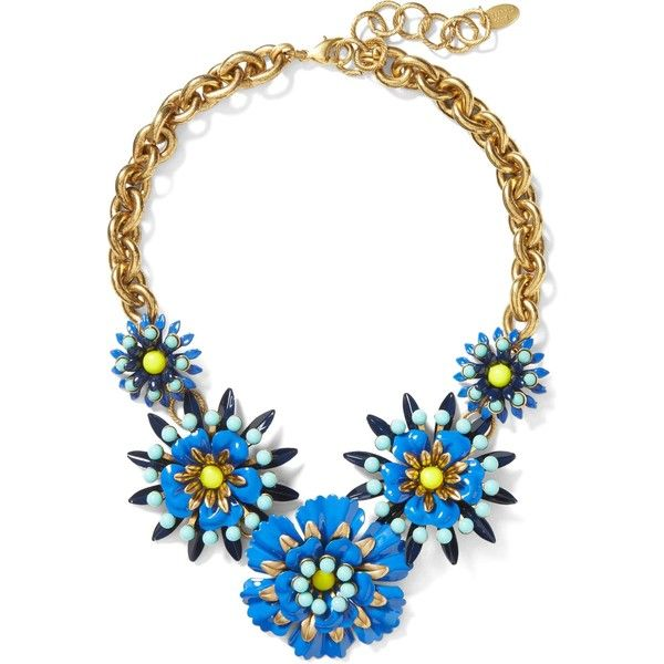 Elizabeth Cole Limited Edition Blue Floral Statement Necklace (12665 RSD) ❤ liked on Polyvore featuring jewelry, necklaces, bib statement necklaces, blue necklace, statement necklace, blue statement necklace and floral jewelry