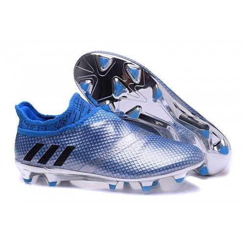 Billig 2016 Adidas Messi 16 Pureagility FG AG Solv Bla Svart Fotballsko